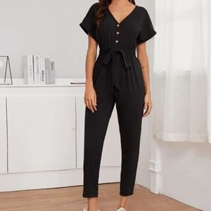 Button-front cuffed-arm belted jumpsuit